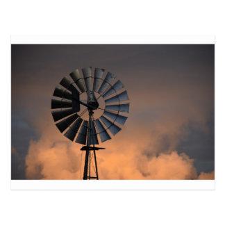 WINDMILL AT SUNSET RURAL QUEENSLAND AUSTRALIA POSTCARD
