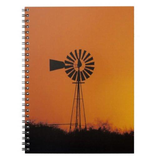 Windmill at sunset, Sinton, Texas, USA Notebook