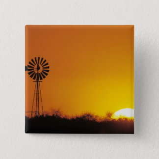 Windmill at sunset, Sinton, Texas, USA Pinback Button