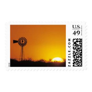 Windmill at sunset, Sinton, Texas, USA Postage