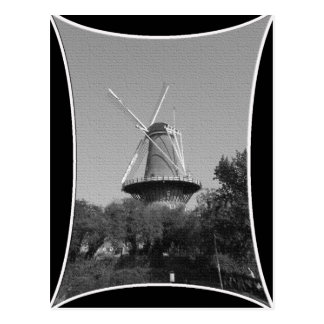 Windmill black and white postcard