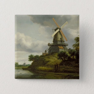 Windmill by a River Button