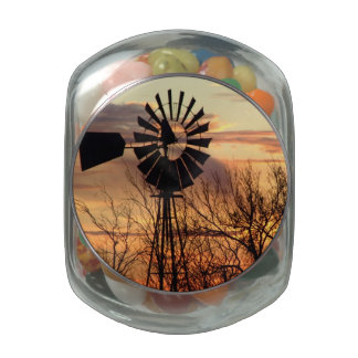 Windmill cookie candy jar western decor glass candy jar