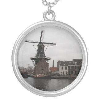 "Windmill ""De Adriaan"", Haarlem Round Pendant Necklace"