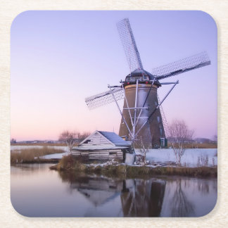 Windmill during sunrise in Holland, winter coaster