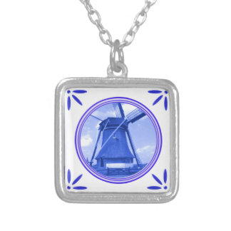 Windmill Holland Delft-Blue-Tile-Look Printed Silver Plated Necklace