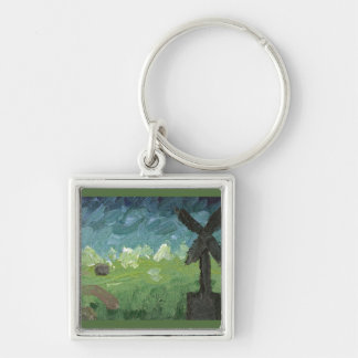 Windmill & house Silver-Colored square keychain