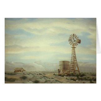 Windmill in Country  Landscape Oil Painting Card