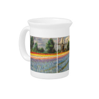 Windmill in Flower Fields Landscape Painting Beverage Pitcher