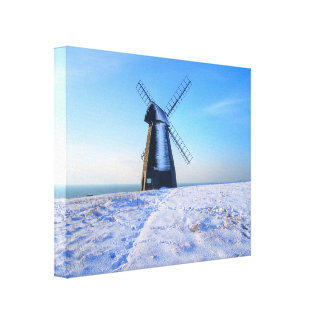 Windmill in Snow Canvas Print