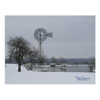 Windmill in snow postcard