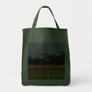 Windmill in the bulb fields grocery tote bag