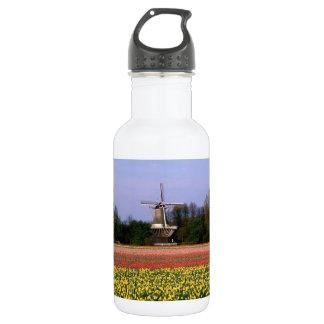 Windmill in the bulb fields stainless steel water bottle
