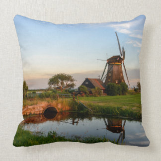 Windmill in the countryside, Holland throw pillow