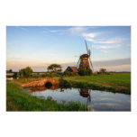 Windmill in the countryside in Holland photo print
