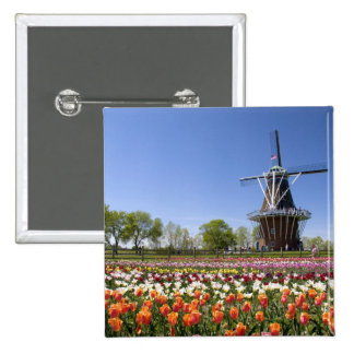 Windmill Island park with tulips in bloom at 2 Inch Square Button