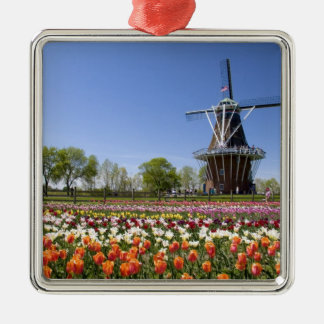 Windmill Island park with tulips in bloom at Square Metal Christmas Ornament