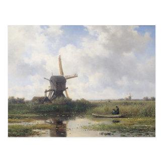 Windmill Landscape - Willem Roelofs Postcard
