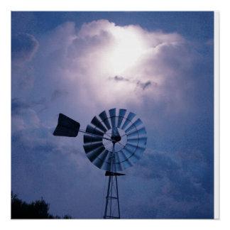 WINDMILL LIGHTNING FLASH RURAL QUEENSLAND AUSTRLIA POSTER