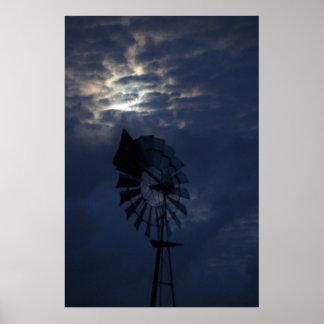 WINDMILL & MOON IN NIGHT SKY RURAL AUSTRALIA POSTER