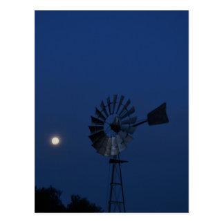 WINDMILL & MOON RURAL QUEENSLAND AUSTRALIA POSTCARD