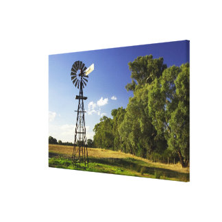 Windmill near Hume Highway, Victoria, Australia Stretched Canvas Print