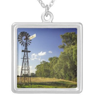 Windmill near Hume Highway, Victoria, Australia Silver Plated Necklace