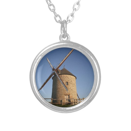 Windmill of Moidrey, Normandy, France Silver Plated Necklace