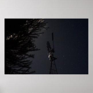 WINDMILL & ORION IN  NIGHT SKY RURAL AUSTRALIA POSTER