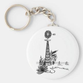 Windmill Outline Basic Round Button Keychain