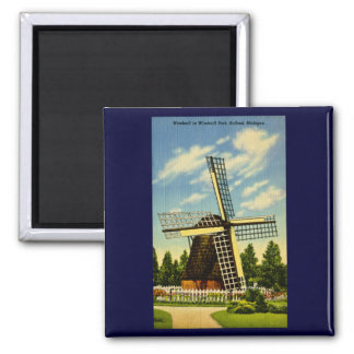 Windmill Park Holland, Michigan Vintage 2 Inch Square Magnet