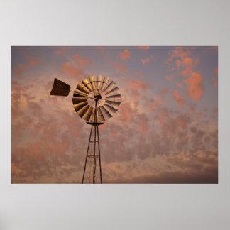 WINDMILL & PINK SKY RURAL QUEENSLAND AUSTRALIA POSTER