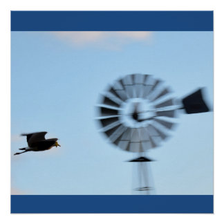 WINDMILL & PLOVER RURAL QUEENSLAND AUSTRALIA POSTER