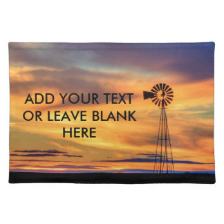 Windmill Silhouette at Sunset Cloth Placemat
