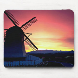 Windmill silhouette with mountains Skagit Valley Mousepad