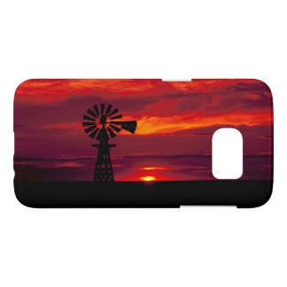 Windmill Sillhoetted Against a Red Sunset Samsung Galaxy S7 Case