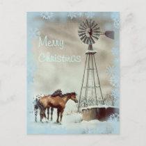WINDMILL & SNOWFLAKES by SHARON SHARPE Holiday Postcard
