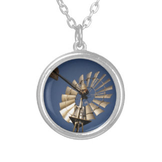 WINDMILL SOUTHERN CROSS RURAL QUEENSLAND AUSTRALIA ROUND PENDANT NECKLACE