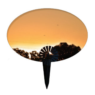 WINDMILL & SUNSET RURAL QUEENSLAND AUSTRALIA CAKE TOPPERS