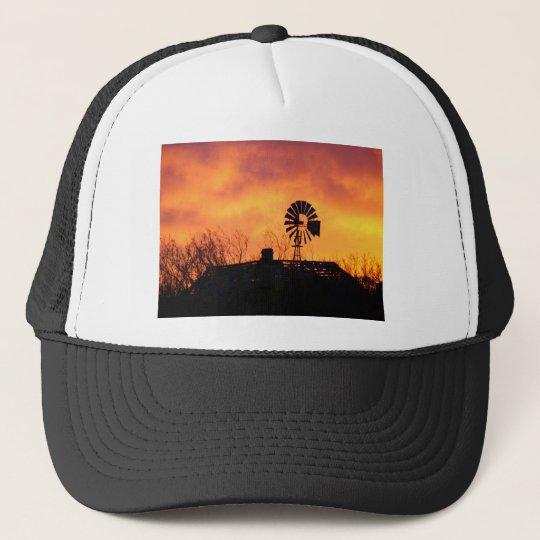 Windmill sunset trucker hat
