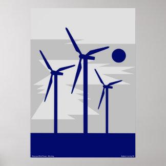 Windmill Surise Grey - Siemens Wind Power Poster