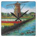 Windmill Tulips Flower Field Painting Square Wall Clocks
