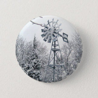 Windmill  Winter Tree Scene Pinback Button