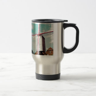 Windmill with red painted sails travel mug