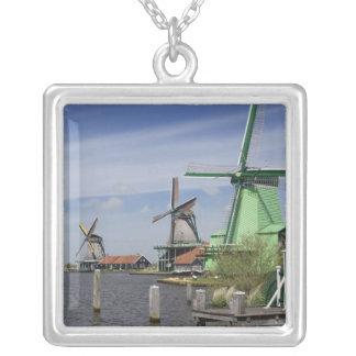 Windmill, Zaanse Schans, Holland, Netherlands 2 Square Pendant Necklace