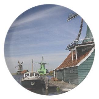 Windmill, Zaanse Schans, Holland, Netherlands Dinner Plate