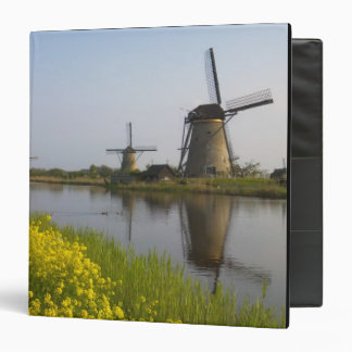 Windmills along the canal in Kinderdijk, 3 Ring Binder
