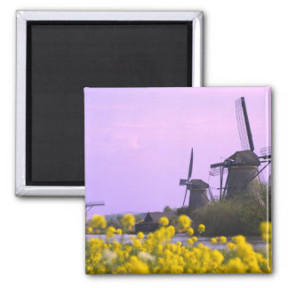 Windmills along the canal in Kinderdijk, Refrigerator Magnet