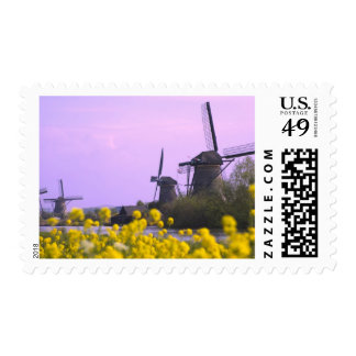 Windmills along the canal in Kinderdijk, Postage