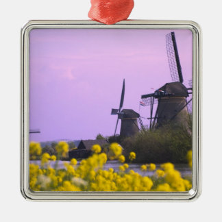 Windmills along the canal in Kinderdijk, Square Metal Christmas Ornament